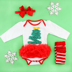 May your days be merry and bright with this ruffled Christmas tree long sleeve one-piece. The tutu skirt adds extra holiday cheer. Pair with Footless Ruffle Tights for an outfit that is sure to keep your little sweetie cute and warm!