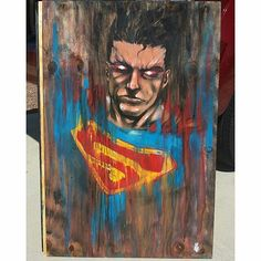 "#Superman shooting some #heatvision in this #painting on plywood by @joeyleecabral. The #texture of this #illustration both from the painting style and the plywood it really cool. You should really check out all of his great work! ----- Hope you're enjoying your ""ride"" on our #CreativeAirship! If you like this piece please be sure to  the original too!"
