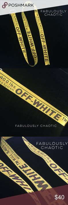 """Off-White Belt Off White Belt Off-White Belt Description - Brand new! - Embossed """"Off-White"""" logos - 53 inches length total - Reflective yellow RECEIVE IN 1-3 DAYS! SHIP SAME DAY! As seen on Beyoncé and many other celebs price is reflective of a u t h e n . Off-White Accessories Belts"""