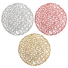 Set of 4 Holiday Decorative Round Woven Metallic Foil Shining Placemats, Chargers - Red, Gold, Silver Home And Garden, Holiday, Metallic, Ebay, Red Gold, Charger, Design, Party Ideas, Decoration