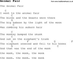 Childrens Songs and Nursery Rhymes, lyrics with chords for guitar, banjo etc for song animal-fair