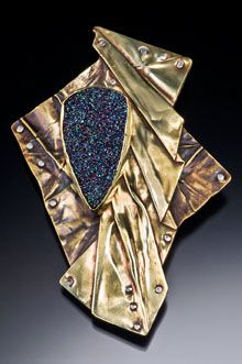 Brooch | Louise Tessing, brass and drusy fold form with rivets