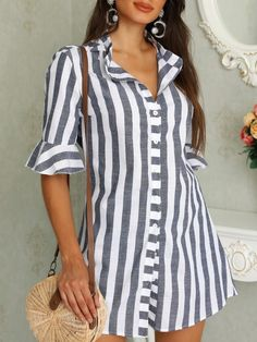 Pinstripes Zipper Flared Sleeve Casual Blouse Women Clothes For Cheap, Collections, Styles Perfectly Fit You, Never Miss It! Trend Fashion, Fashion Outfits, Womens Fashion, Fashion Design, Fashion Ideas, Ladies Fashion, Cheap Fashion, Fashion Top, Fashion Clothes