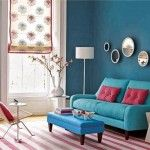 Marvelous Blue Living Room Inspiration with Cute Pink White Striped Carpet Flooring Idea and Blue Fabric Sofa Set feat Small Pink Pillows and Blue Fabric Ottoman Design and White Floor Lamp a part of  under Living Room