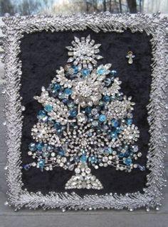 Vintage ooak framed costume jewelry christmas tree rhinestone art by michelle