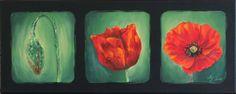 """Peinture acrylique sur toile """"Triptyque coquelicots"""" - Myriam Lakraa Créations 2003"""