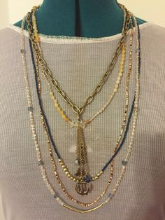 $35 Multi-Necklace Quartz, Yellow Natural Stone with Gold Seed Beaded Jewelry