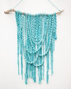 Artist Melissa Carey - Macrame Wall hanging with hand-dyed cotton rope on driftwood
