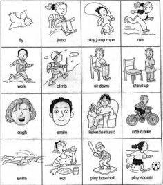 esl verb cards (actions) for beginner gesture game