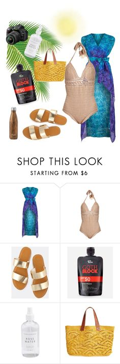 """Skinny Dipping? Moi?"" by missmygreenhair ❤ liked on Polyvore featuring Gottex, SHE MADE ME, Let it Block, Mar y Sol, Nikon and West Elm"
