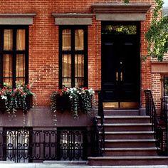 front door color for orange brick house - Black House Paint Exterior, Exterior Paint Colors, Exterior House Colors, Paint Colors For Home, Exterior Design, Facade Design, Paint Colours, Black Exterior, Exterior Windows