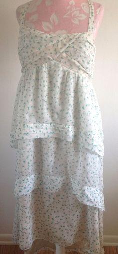 J.Crew Collection Teal Floral Silk Trellis Dress White Silk Tiered Sundress 12 #JCrew #Sundress #Casual