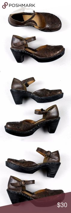 "Born Leather Floral Stitched Mary Jane Heels Dark brown leather with black stitching in a floral/flower design. Adjustable buckle strap. Approx 1"" platform and 3"" heel. No major flaws, minor signs of wear.  17121102 Born Shoes Heels"