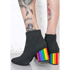 Y.R.U. Rainbow Road Boots ($96) ❤ liked on Polyvore featuring shoes, boots, yellow shoes, vegan boots, faux-leather boots, yellow ankle boots and vegan ankle boots