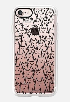 Casetify iPhone 7 Classic Grip Case - Lots of Cats - Cat Crowd - For Cat Lover - Black Transparent by Happy Cat Prints #Casetify