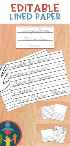 Primary Writing Paper Editable Cursive Font