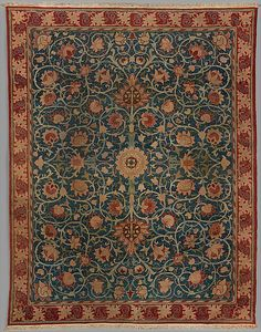 "Holland Park wool rug designed by William Morris, late 19th century. Turkish (Ghiordes) knot, 25 to the square inch. 203 x 156 1/4"" (515.6 x 396.9 cm)"