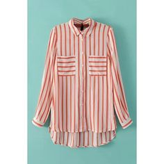 WithChic Pink and White Striped Chiffon Blouse ($22) ❤ liked on Polyvore featuring tops, blouses, vertical stripe top, pattern blouse, long sleeve chiffon blouse, striped top and striped blouse
