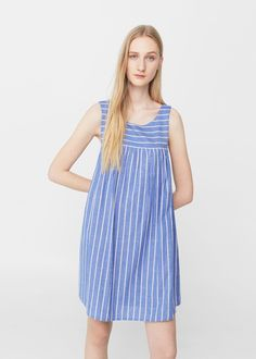 Striped cotton dress -  Woman   MANGO Croatia