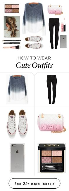 """""""outfit casual"""" by abbygirly on Polyvore featuring J Brand, Converse, Moschino, Incase, Gucci, Bobbi Brown Cosmetics, MAC Cosmetics, women's clothing, women and female"""