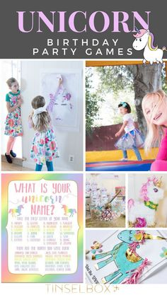 Unicorn birthday party games that are both easy and fun. These kids activities will fit the magical bill without too much work. And adults love these games too! #unicorn #unicornparty #kidsparty via @tinselbox_