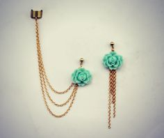 aqua rose ear cuff and earrings, chain ear cuff, ear cuff with gold chains, asymmetrical earrings on Etsy, $23.00