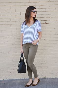 stripe tee olive green denim leopard flats smalltownfancy.com