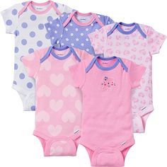 559f9a3b14c0 image of Gerber ONESIES® 3-Pack Girl s Short-Sleeve Organic Cotton ...