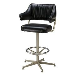 "Regal Swivel Bar Stool Seat Height: 26"", Upholstery: Dark Walnut Wood, Finish: Anodized Nickel"