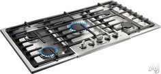 """Bosch NGM8655 37"""" Gas Cooktop with 5 Sealed Burners, 18,000 BTU Burner, Cast Iron Continuous Grates, Heavy-Duty Metal Knobs, Centralized Controls and Low-Profile Design"""
