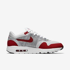 5e16d2af31b5f Cheap Nike Air Max 1 Ultra Flyknit White Pure Platinum Cool Grey University  Red Sale