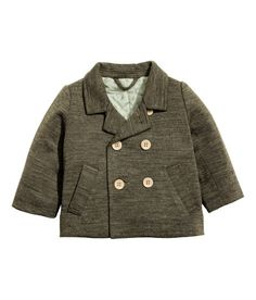 Check this out! BABY EXCLUSIVE. Lightly padded, double-breasted jacket in soft, melange jersey with wool content. Front pockets and back vent. Quilted cotton lining with printed pattern and polyester padding. - Visit hm.com to see more.
