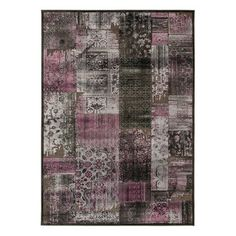 Antique-Inspired rug from Safavieh has a patchwork design that's soft and luxurious underfoot, with rich purple, gray and black colors