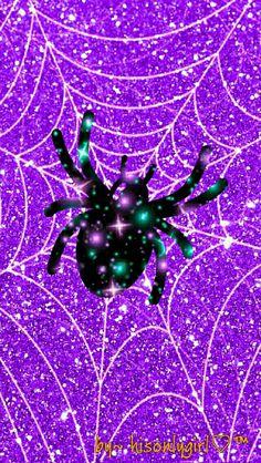 Purple spider web glitter wallpaper I created for the app CocoPPa