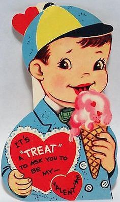 50s The Ice Cream Cone is a Treat! Vintage Diecut Valentine Card