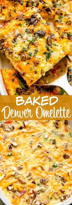 This Baked Denver Omelette recipe is packed with onions, peppers, ham, and cheese. It's easy, delicious and sure to be your new go-to brunch recipe! luncheon ideas food recipe Baked Denver Omelette Recipe - Easy Make Ahead Brunch Idea! Ham And Cheese Omelette, Baked Omelette, Healthy Omelette, Breakfast Omelette, Omelette Muffins, Mushroom Omelette, Veggie Omelette, Omelettes, Easy Brunch Recipes