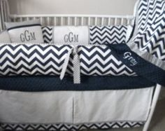 Navy Blue, Gray and White Chevron Baby bedding Crib set DEPOSIT