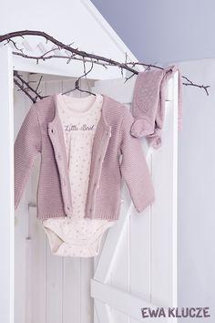 EWA KLUCZE, kolekcja BIRD, sweterek, body, półśpioch beż, jesień-zima 2018, ubranka dla dzieci, EWA KLUCZE, BIRD collection, baby girl bodysuit, joggers, sweater, baby clothes