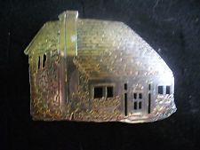 Vintage 925 Sterling Silver Saltbox Country Cottage Brooch Pin
