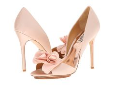 Pale pink silk and satin peep-toes from Badgley Mischka. #heels #shoes #shoelove