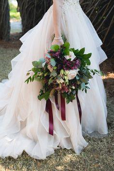 Lush garden wedding bouquet with wine colored ribbons Purple Wedding Bouquets, Burgundy Wedding, Bride Bouquets, Bridesmaid Bouquet, Wedding Flowers, Garden Wedding Inspiration, Floral Arrangements, Wedding Blog, Wedding Things