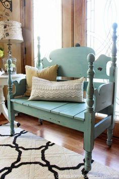 A mason jar blue headboard bench - Confessions of a Serial DIYer, featured on… Blue Furniture, Bench Furniture, Refurbished Furniture, Repurposed Furniture, Furniture Projects, Furniture Makeover, Painted Furniture, Outdoor Furniture, Handmade Furniture