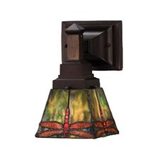 5 Inch Prairie Dragonfly One Light Wall Sconce Meyda Tiffany 1 Light Armed Glass Wall Scon