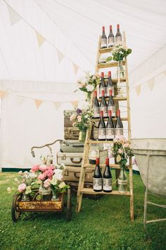 A Gorgeous Vintage Garden Wedding by Catherine Cattanach Photography - Paper & Lace Romantic Wedding Receptions, Diy Wedding Reception, Wedding Table, Rustic Wedding, Wedding Vintage, Vintage Weddings, Wedding Dress, Wine Display, Ladder Display