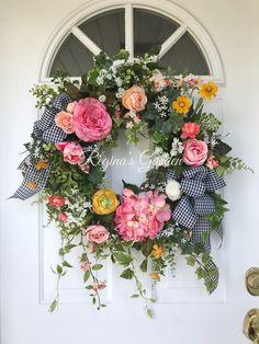 Spring Wreath-Summer Wreath-Hydrangea Wreath-Mother's Day Wreath Summer Wreath for Door-French Country Wreath-Wedding Wreath-Farmhouse Decor by ReginasGarden on Etsy https://www.etsy.com/listing/597250343/spring-wreath-summer-wreath-hydrangea