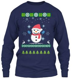 Christmas Is Coming!!! Navy Long Sleeve T-Shirt Front