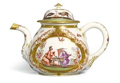 A MEISSEN K.P.M TEAPOT AND COVER, CIRCA 1723-25 of small size and squat globular form, the spout with a grotesque mask terminal, painted on each side with a chinoiserie scene, within a quatrefoil frame filled with Böttger lustre picked out in gilding, and iron-red scrollwork, surrounded by small winged insects, the spout and handle painted with flowering branches, K.P.M and crossed swords mark in underglaze-blue, gilt numeral 3. to both pieces, some re-gilding to cover,