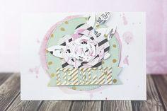 Vier Karten mit dem Juni Project Life Kit der Scrapbook Werkstatt || Design Team Arbeit von Julia Klein  #cardmaking #scrapbooking #diecutting #sizzix #cratepaper