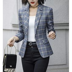 Women's Daily Basic Plus Size Short Blazer, Check Notch Lapel Long Sleeve Polyester Dark Gray / Navy Blue XXL / … Mode Outfits, Office Outfits, Casual Outfits, Dress Outfits, Casual Blazer, Blazer Fashion, Fashion Outfits, Womens Fashion, Fashion Coat