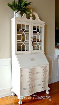 a revamped antique secretary, chalk paint, painted furniture, AFTER Thanks to a can of Annie Sloane s Pure White chalk paint this secretary go t a new look